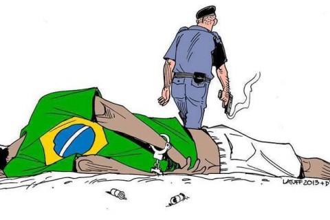 Charge de Latuff sobre a violência policial