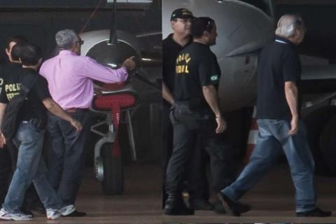 Avião da Polícia Federal que trouxe nove condenados na Ação Penal 470 como José Genoino e José Dirceu no Aeroporto de Brasília (Marcello Casal Jr/Agência Brasil)