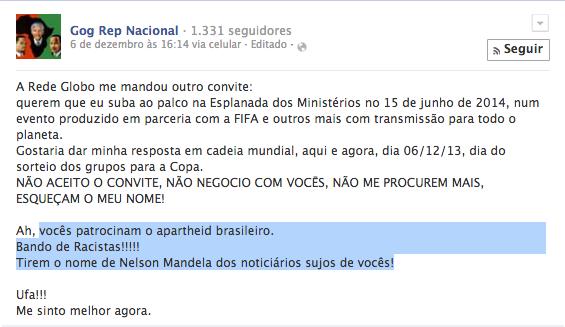 """Rapper esnoba convite da Globo e da Fifa: """"Vocês patrocinam o apartheid brasileiro"""""""