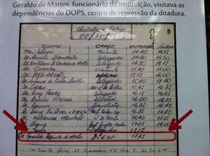 Reprodução de documento que comprova a visita de representante da Fiesp ao Dops (Foto: Igor Carvalho)