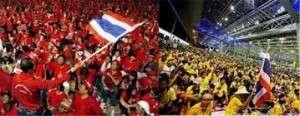 Os Camisas Vermelhas (pró-governo e maioria rural) e os Camisas Amarelas (oposição, monárquicos e urbanos), há anos têm entrado em conflito na Tailândia