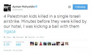 """""""Quatro meninos palestinos mortos em apenas um bombardeio israelense. Minutos antes eles estavam perto de nosso hotel, eu joguei futebol com eles"""", escreveu Ayman Mohyeldin em seu Twitter (Foto: Reprodução/Twitter)"""