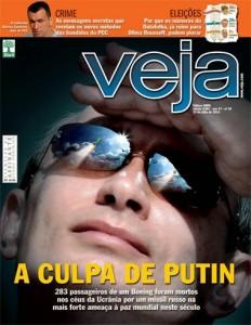 A revista nacional Veja também entrou no frenesi midiático de culpar Putin sem qualquer tipo de evidência confirmando (Reprodução)