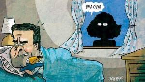 Meme da fanpage Ajuda, Luciana, que satiriza o embate entre Neves e Genro.