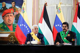 Presidentes Mahmoud Abbas e Nicolás Maduro. Em 2009, a Venezuela já havia rompido relações com Israel por conta de seus ataques desmedidos contra a Faixa de Gaza (AVN)