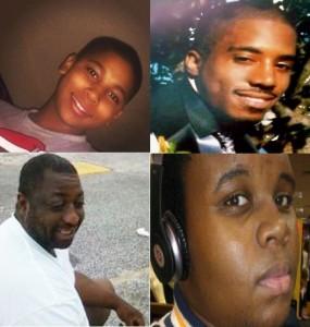 Tamir Rice (sup. esq.); Eric Garner (inf. esq.); Dontre Hamilton (sup. dir.); Michael Brown (inf. dir.): todos desarmados, todos mortos por policias brancos