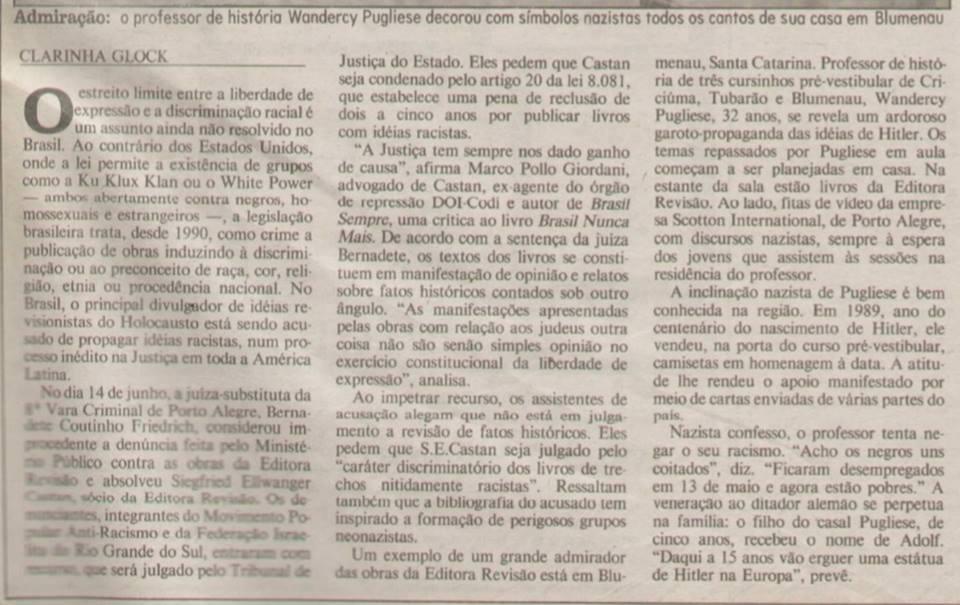 Matéria de 1995 da jornalista Clara Glock, pelo Zero Hora, do Rio Grande da Sul (Reprodução)