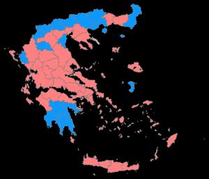 Mapa da votação na Grécia: para o Syriza, em vermelho e para a Nova Democracia, em azul (Twitter)