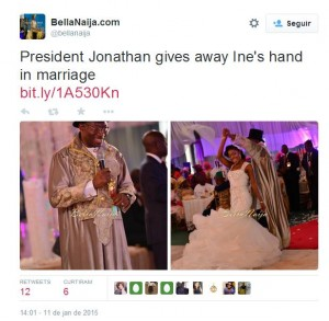 Presidente da NIgéria Goodluck Jonathan, na festa de casamento de sua filha