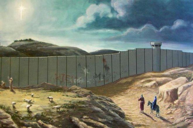 Artista inglês dá seu toque à data religiosa, lembrando que Cristo não poderia ter nascido no estábulo na cidade palestina nos dias atuais (Foto: Reprodução)