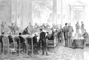A Conferência de Berlim (1885), na Alemanha, foi a primeira ação imperialista das potências europeias, quando elas partilharam entre si todo o continenten africano (Wikipedia)