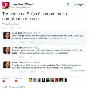 O perfil satírico Jornalismo Wando ironiza os tweets de Mona Dorf sobre as contas de Paulo Roberto Costa na Suíça (Reprodução/Twitter)
