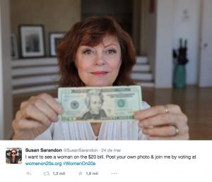 A atriz e diretora Susan Sarandon apoiou a campanha (Reprodução/Twitter)