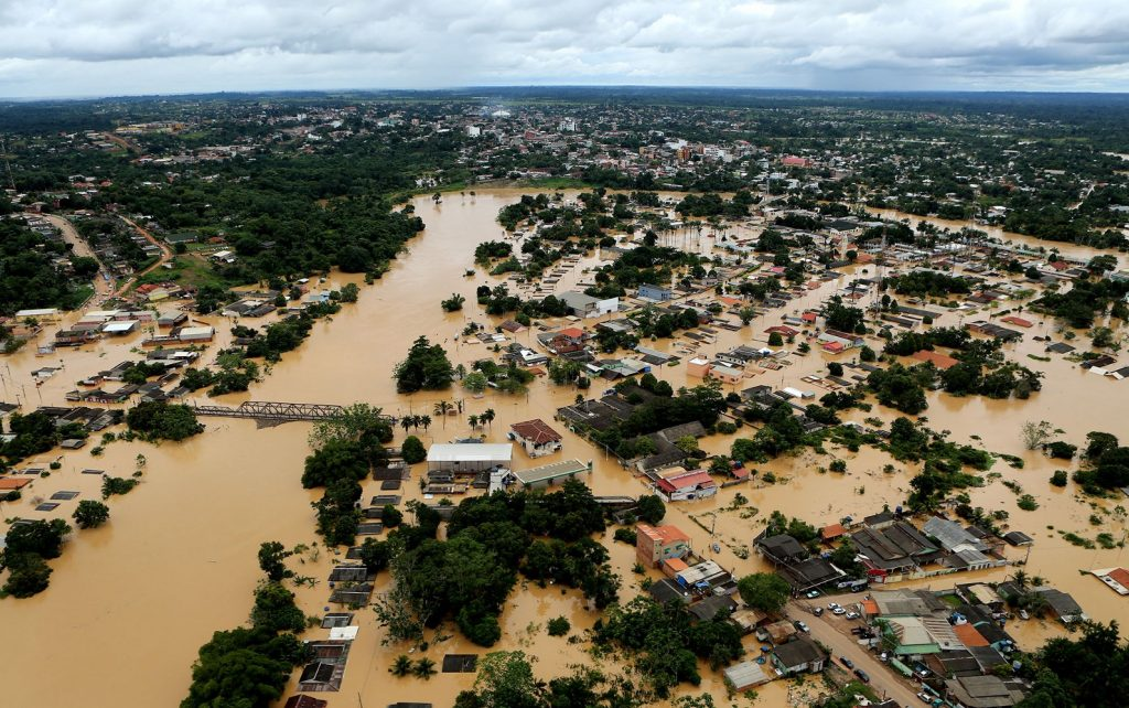 Vista aérea de Brasiléia no ápice da cheia. Foto: Secom/AC