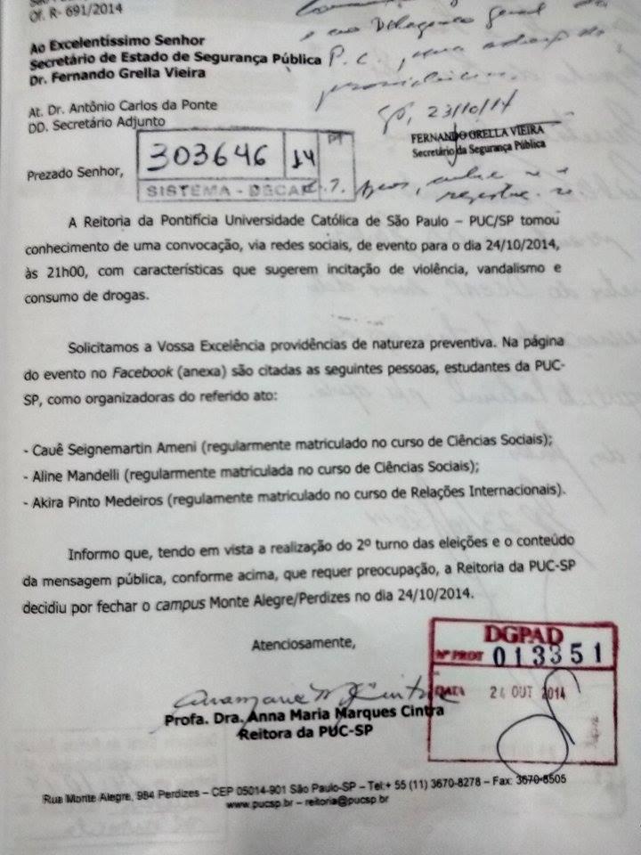 Ofício que Anna Cintra enviou à SSP denunciando os estudantes. (Foto: reprodução)