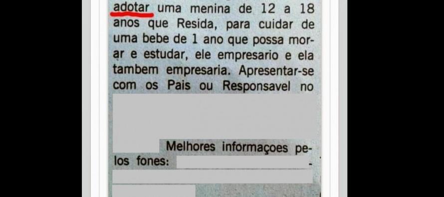 Anúncio em jornal procura menina de '12 a 18 anos' para trabalhar como babá