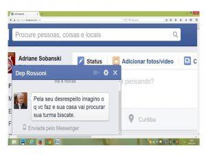 Perfil do deputado federal Valdir Rossoni enviou inbox com ofensas a professora (Reprodução/Facebook)