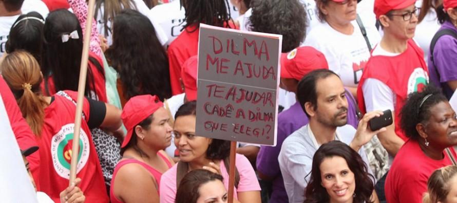 Manifestação contra o ajuste fiscal bloqueia a Avenida Paulista