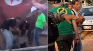 À direita, o homem que aplicou o choque em Daniel Valença aparece carregando a arma