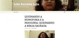 O falso site atribuído à Lola Aronovich incentivava a queima de bíblias (Reprodução/Facebook)