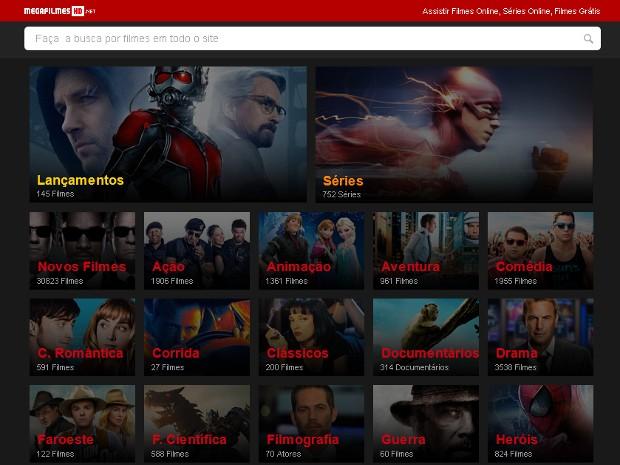 Interface do Mega Filmes HD: o site ainda está acessível