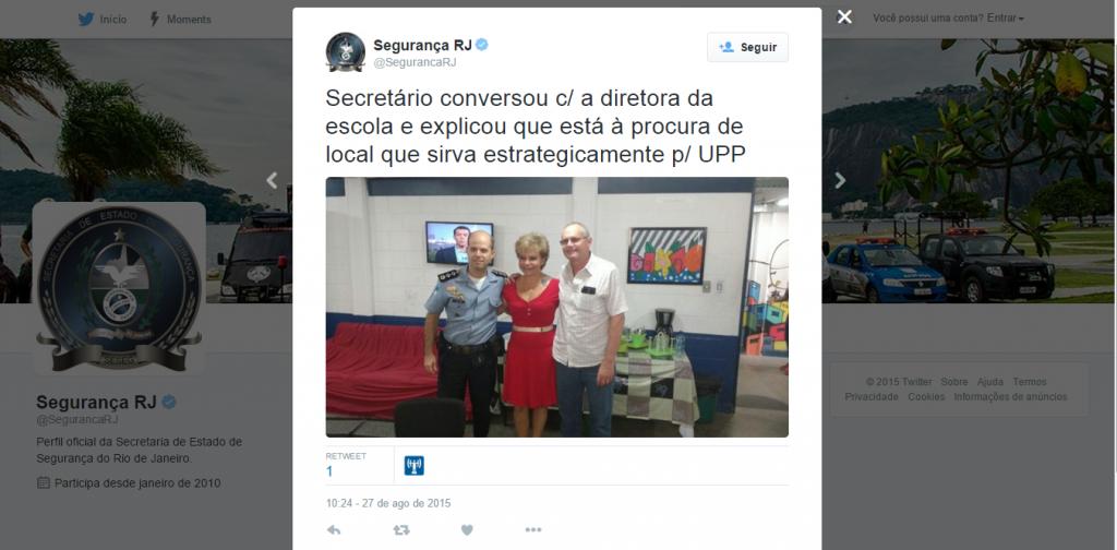 O tweet da SSP reforçando a promessa de Beltrame (Reprodução)