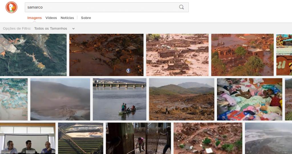 No DuckDuckGo, imagens estão relacionadas à tragédia em MG