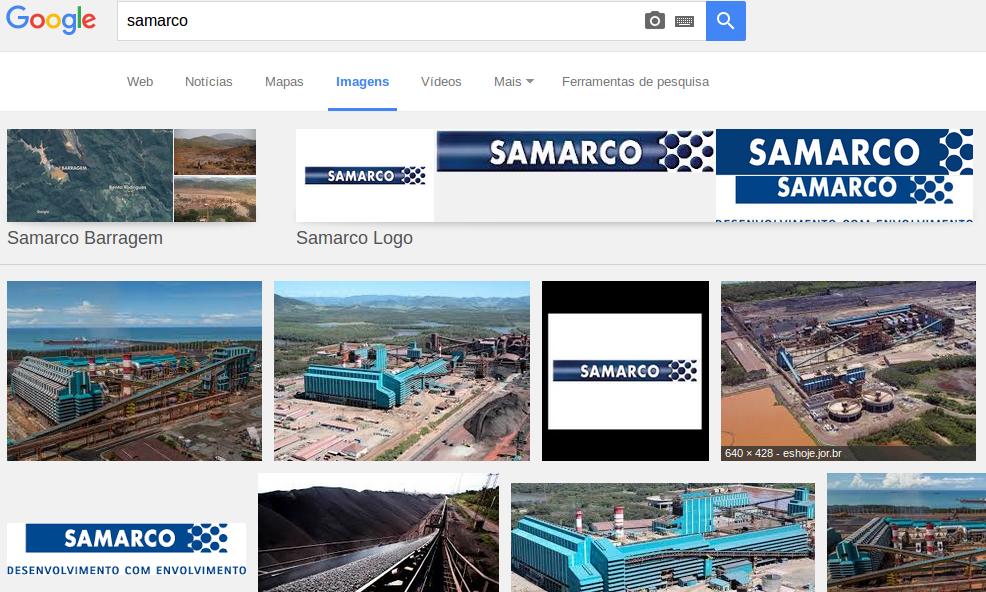 Resultados para o termo 'Samarco' no Google: priorização de imagens institucionais