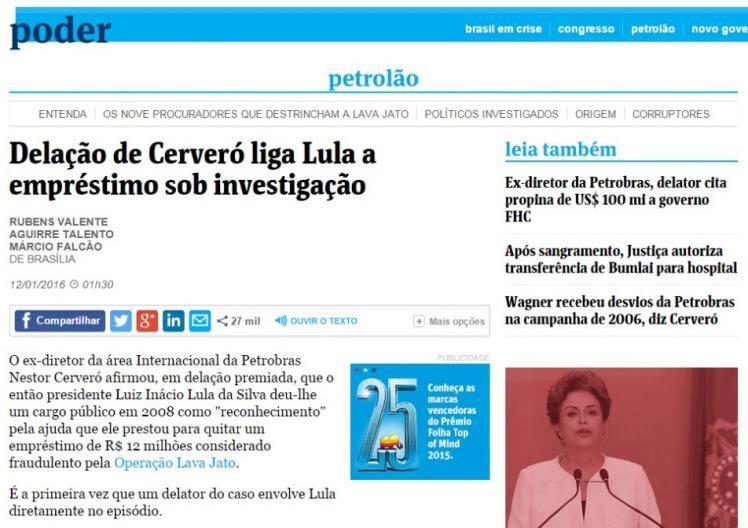 Reprodução do site da Folha de S. Paulo do dia 12-01-2016. Disponível em: http://migre.me/sHcuL
