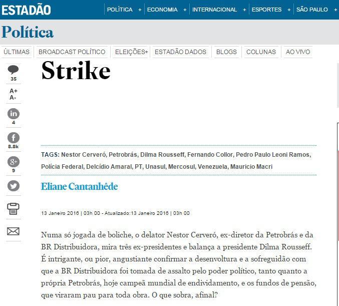 Reprodução do site de O Estado de S. Paulo do dia 13-01-2016. Disponível em: http://migre.me/sHcLW