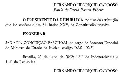 Até 2002, Janaína atuava em cargo comissionado do governo FHC. (Reprodução)