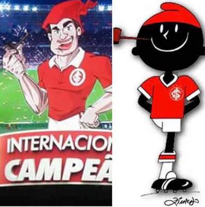 Comparativo entre o Saci inventado pela RBS e o mascote tradicional do clube. (Reprodução)