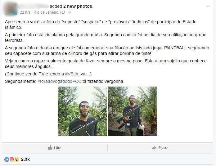 manipulação suspeito terrorismo preso arma paintball