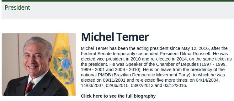 Diferentemente do site oficial do Planalto, o site para estrangeiros conta apenas com a biografia de Temer. (Reprodução)