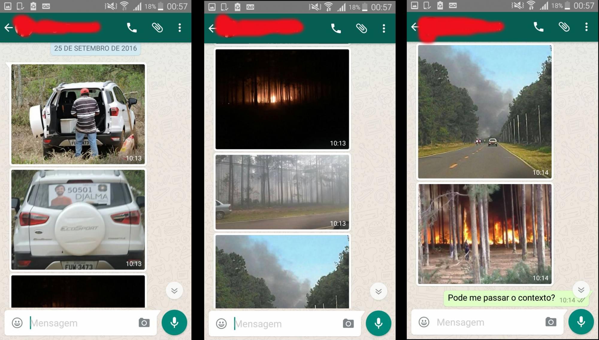Compilado de fotos circulando pelo grupo de whatsapp (Reprodução)