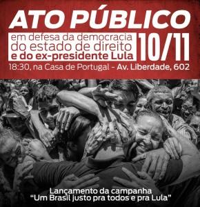 Ato Público lança campanha em defesa da democracia, do estado de direito e de Lula