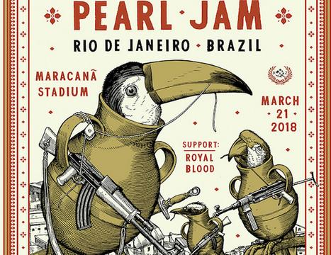 Pôster do Pearl Jam com pássaros armados gera debates na web