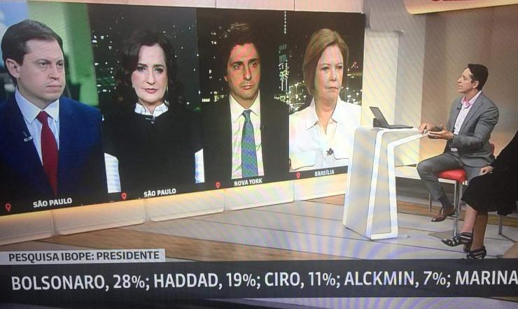 Reação de jornalistas da GloboNews ao noticiar o Ibope vira meme nas redes sociais