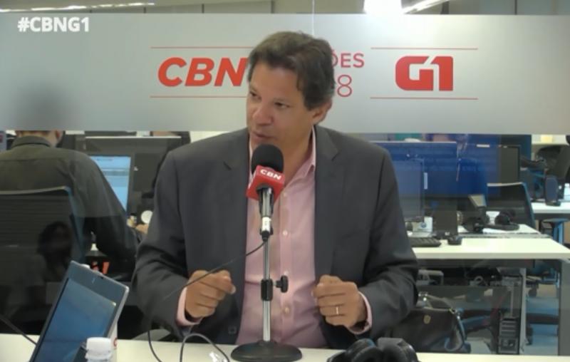 """Haddad na CBN/G1: """"A Globo levou 50 anos para reconhecer que foi um erro apoiar golpe militar, que deixou o país nas trevas por mais de 20 anos"""""""