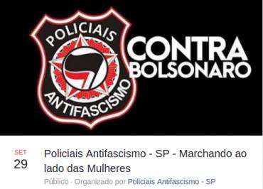 Policiais Antifascismo anunciam apoio a ato das mulheres contra Bolsonaro