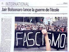"""Le Monde"" publica reportagem sobre o Brasil: ""Bolsonaro inicia guerra nas escolas"""