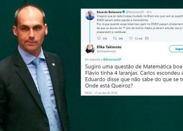 """Eduardo Bolsonaro critica Enem e toma invertida: """"Flávio tinha 4 laranjas. Carlos escondeu uma. Onde está Queiroz?"""""""