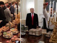 Com greve de servidores, Trump serve pizza e hamburguer em reunião na Casa Branca