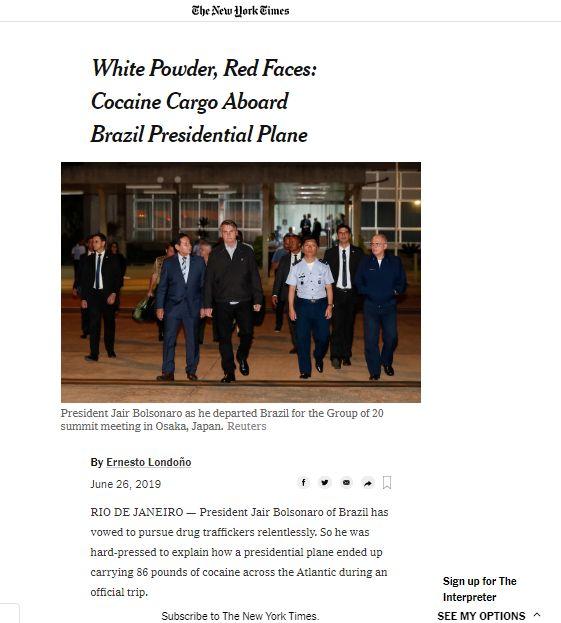 Deu no New York Times: pó branco, rostos vermelhos e a carga de cocaína a bordo do avião presidencial do Brasil