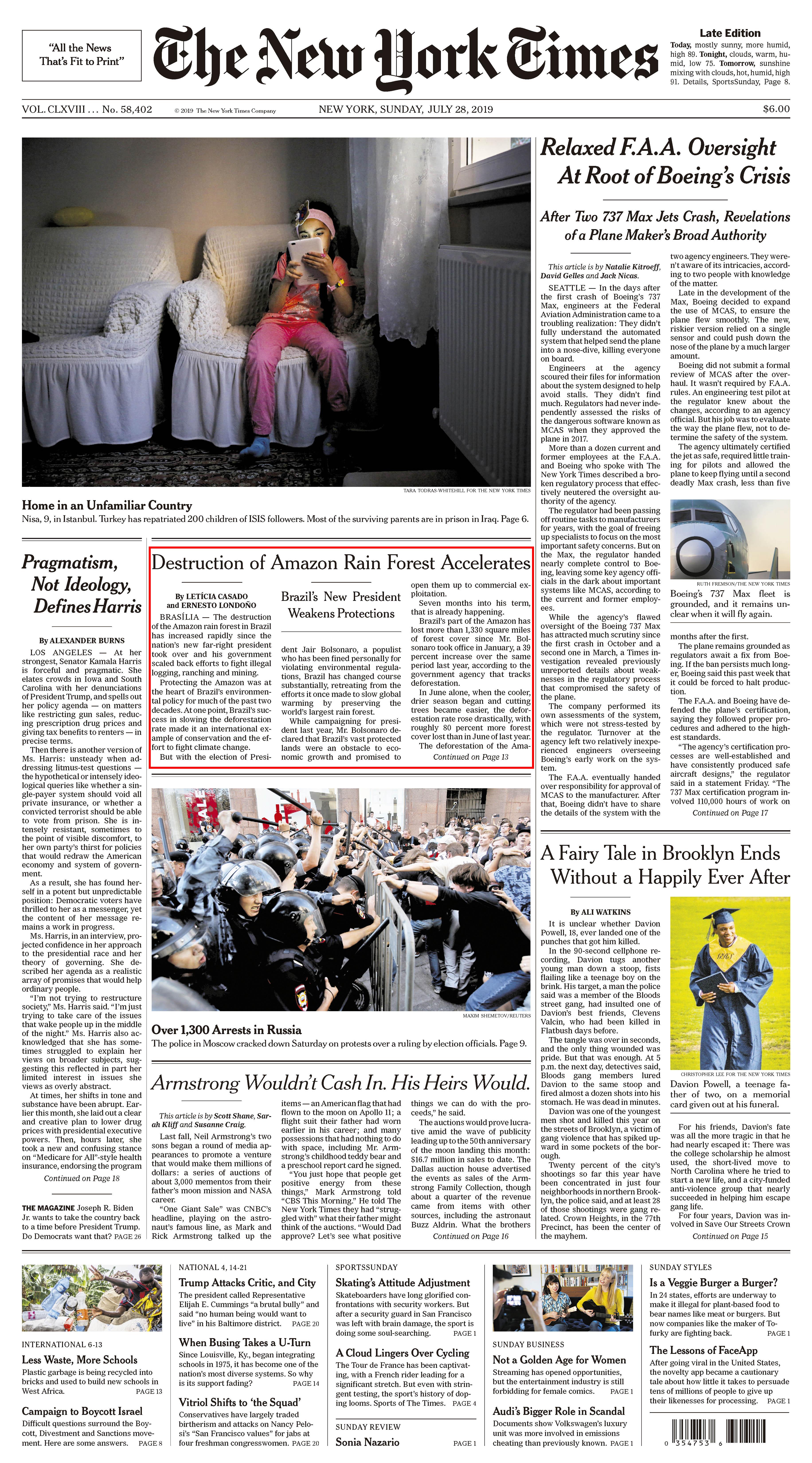 Capa do The New York Times denuncia negligência do governo Bolsonaro na Amazônia.