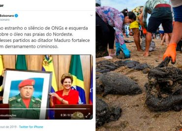 """Bolsonaro relaciona vazamento de """"óleo venezuelano"""" nas praias do nordeste a Dilma e ao PT"""