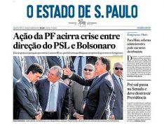 Em foto de capa, Estadão mostra Bolsonaro executando Moro aos risos de Paulo Guedes