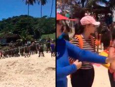Vídeo: Militares são escrachadas por voluntários ao chegarem em praia com óleo acompanhados da imprensa