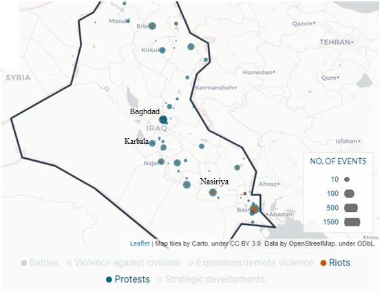 Protestos e Revoltas populares (riots) no Iraque entre Janeiro de 2016 e outubro de 2019