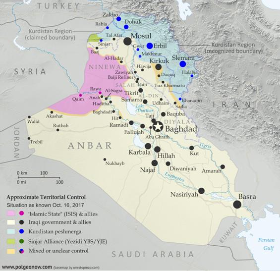 Situação do controle político no território iraquiano em outubro de 2017